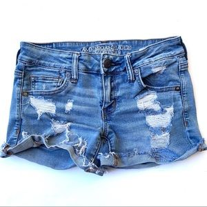 American Eagle Distressed Super Low Shortie Shorts